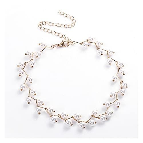 zlw-shop Collar de Mujer Moda Mujeres Collar Pearl Collar Declaración Discotecas Collares Dorado Color Aleación Joyería Gargantilla Charm Regalo de cumpleaños Collares Pendientes (Metal Color : Gold)