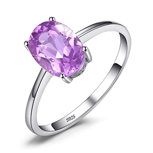 JewelryPalace Oval 1.1 ct Natürliche Lila Amethyst Birthstone Solitaire Ring Solide 925 Sterling Silber