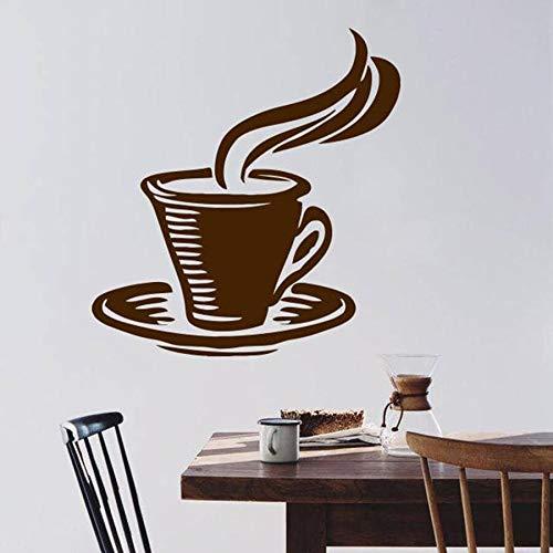 mlpnko Wandtattoo Kaffeetasse Heißgetränk Schlafzimmer Café Restaurant Dekoration Vinyl Wandtattoo Fenster Aufkleber 91X102cm