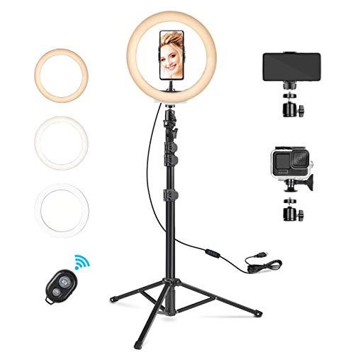 """Rhodesy 10"""" Luce Tik Tok ad Anello LED, Lampada Anulare Regolabile con Treppiede Telecomando Wireless 3 Modalita` di Illuminazione e 10 Livelli di Luminosità per Smartphone/Makeup/YouTube Video"""