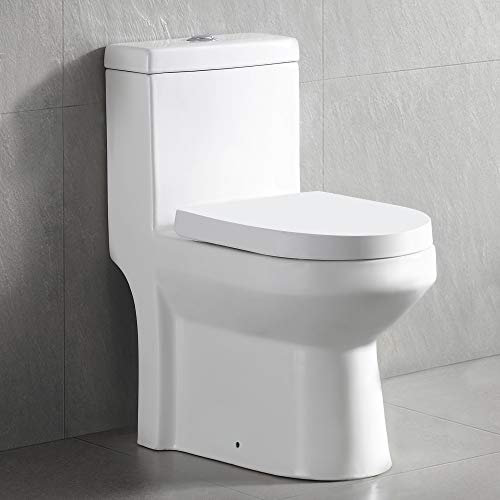 DeerValley DV-1F52813 Small Compact Dual-Flush Elongated One-Piece Toilet, Space Saver Commode designed for Water Closet, Soft Closing Seat Included, High-Efficiency WaterSense Cotton White