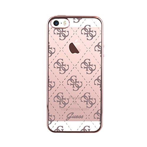 Guess Coque semi-rigide pour iPhone5/5S/SES/SE Transparent/Rose doré