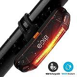 BIGO Eclairage Arrière Vélo Eclairage Velo Puissant Lampe Velo COB LED USB Rechargeable, 6 Modes Lumière Arrière, Résistant à l'eau, Feu arrière pour VTT VTC, Assurer la sécurité et visibilité