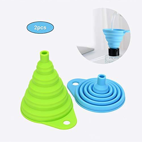 tingz Embudo Plegable de 2 Piezas,tolva para la Transferencia de líquidos y Polvos de la Cocina doméstica(uno Grande y uno pequeño)