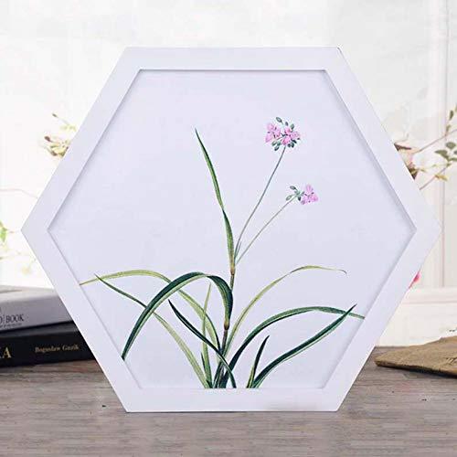 YUKUAS Fotolijst voor wanddecoratie huwelijkspaar aanbeveling muurkunst hexagon poster fotolijst foto cadeau wooncultuur 12 inch Witte fotolijst