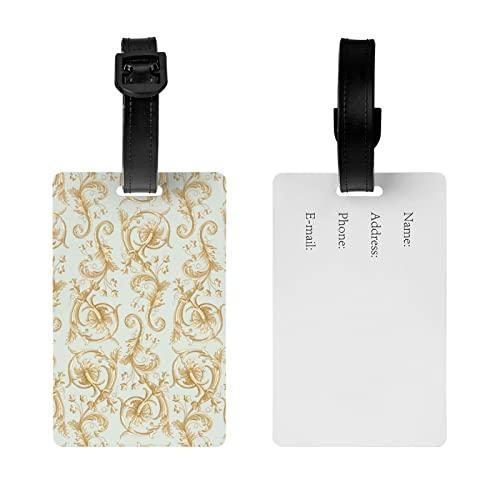 MGCEDLTD Etiqueta del equipaje del patrón de las flores, etiqueta del nombre de la maleta del bolso de viaje con la correa desmontable de la