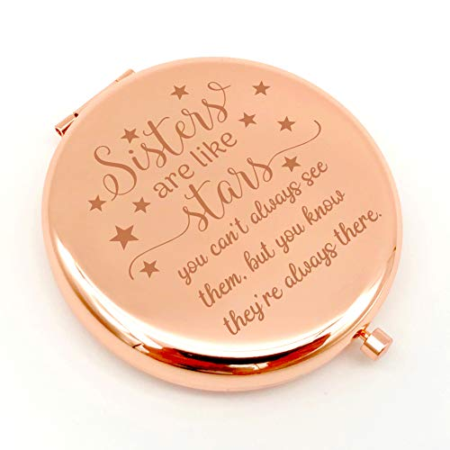 Warehouse No.9 Friendship Personalized Travel Pocket Compact Makeup Mirror Sister are Like Star Gift for Best Friend and Sister Graduation Christmas Birthday Gifts (Rose Gold)