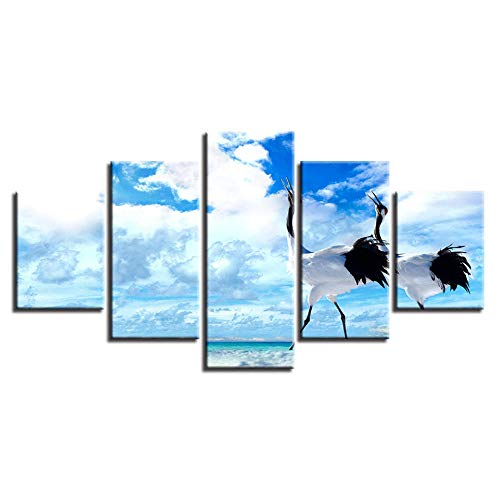 MSDEWLH 5 schilderijen op canvas, dieren, kramen, vogel, zee, landschap, fotodruk, muurkunst, weerstand, decoratie voor de woonkamer, modulair, Manifesto 12x16in 12x24in 12x32in