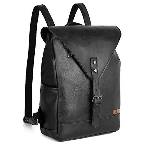 Koolertron Cuoio Sintetico di Zaino Laptop Bag Satchel Borse Scuola Zaino Zaino Casual, Black, 33x10x25cm