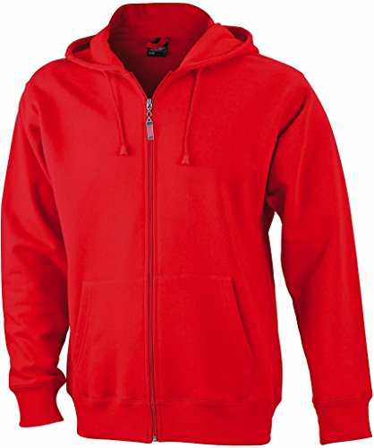JN042-1 Men´s Hooded Jacke Sweatjacke Kapuze Sweatshirt, Farbe:red;Herrengrößen:3XL XXXL,Red