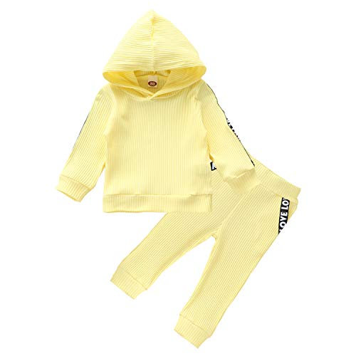 Toddler Newborn Baby Girl Boy Fall Clothes Long Sleeve Hoodie Top+Pants Sweatsuit Outfit 2Pcs Set (Yellow, 3-4 Years)