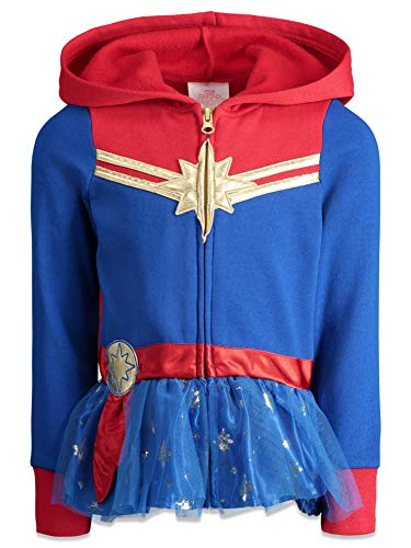 Marvel Captain Toddler Girls Zip Up Fleece Costume Hoodie with Ruffle 3T Blue/Red