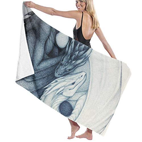 WKLNM Baddoeken: Dragon Yin Yang Wasdoekjes 100% Polyester Katoen Handdoek Zeer absorberende Sauna Handdoek Sneldrogende Badlakens voor Home Hotel Spa (32x51 inch)