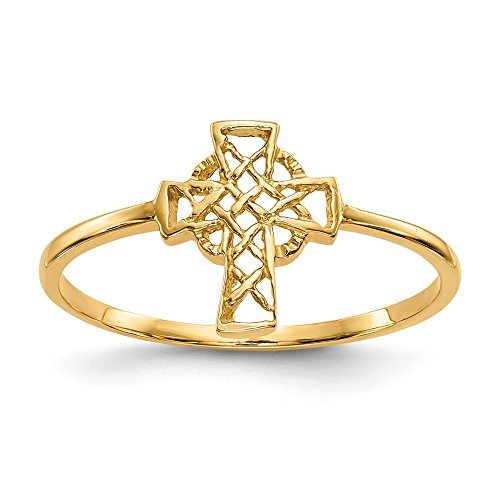 14k Yellow Gold Irish Claddagh Celtic Knot Cross Religious Band Ring Size 7.00 Fine Jewelry For Women Gifts For Her