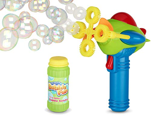 Product Image of the Bubble Gun Blower for Kids (Boys & Girls) - Non-Toxic | Dip&Press with Fan |...