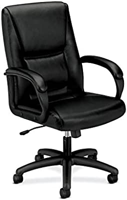 HON Executive Leather Chair - Mid-Back Office Chair for Computer Desk, Black (HVL161)