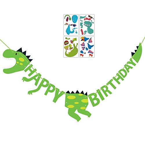 Dinosaur Happy Birthday Banner + Make-a-dinosaur Sticker Set - Dino Jungle Jurassic Garland Party Supplies Decorations (Green)