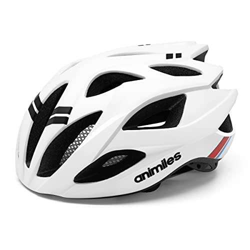 ANIMILES Fahrradhelme für Männer Frauen Leichtgewichte Fahrradhelm Sicherheit Zertifiziert für Mountain Road Cycling Helm Einstellbare Größe 21 bis 24 Zoll (Weiß)