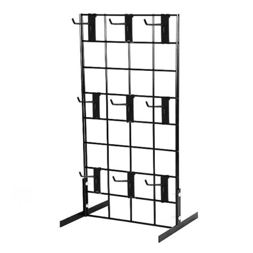 Counter Top Gridwall Display Unit, 24' x 12' Tabletop Grid with [9] 4' D Grid Hooks, Black, 1 Unit