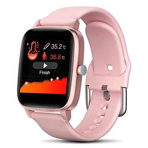Cytech Smartwatch, Impermeable IP67 Reloj Inteligente con Pulsómetro,Podómetro,Cronómetros,Calorías,Termómetro,Oxímetro,Monitor de Sueño,para Android iOS (Rosa)