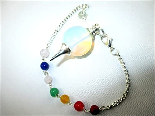 Jet Opalite Sphere Ball Pendulum Chakra Chain Opal Carved Handcrafted Antique India Reiki Dowsing product image