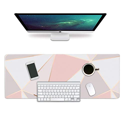 """ZYCCW Large Gaming XXL Mouse Pad with Stitched Edge 31.5""""x11.8""""x0.15"""" Pink Gold Marble Mouse Mat Customized Extended Gaming Mouse Pad Anti-Slip Rubber Base Ergonomic Mouse Pad for Computer Photo #3"""