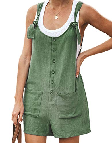 Loralie Damen Overall Kurz Latzhose Einteiler Hosenanzug Playsuit Sommer Onesie Jumpsuit (XL, Leinen/Grün)