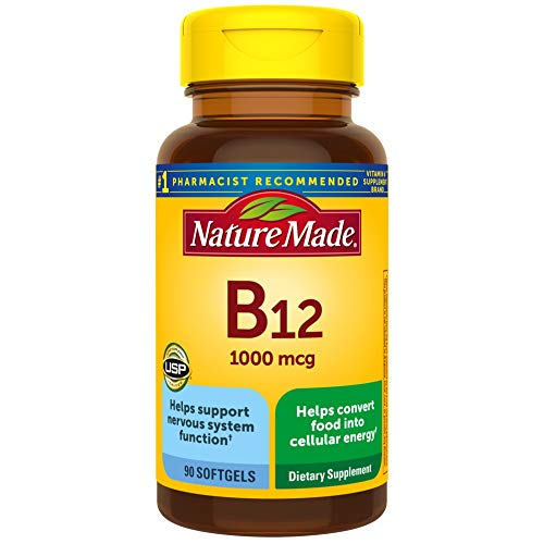 Nature Made Vitamin B12 1000 mcg Softgels, 90 Count for Metabolic Health