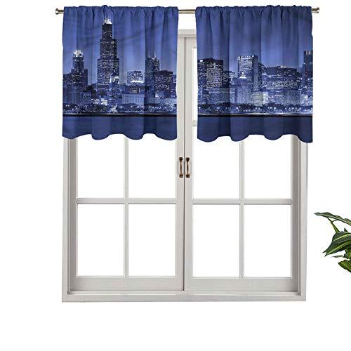 Hiiiman - Juego de 1 cortina de ventana con bolsillo para barra de Chicago Skyline Night (91 x 45 cm)