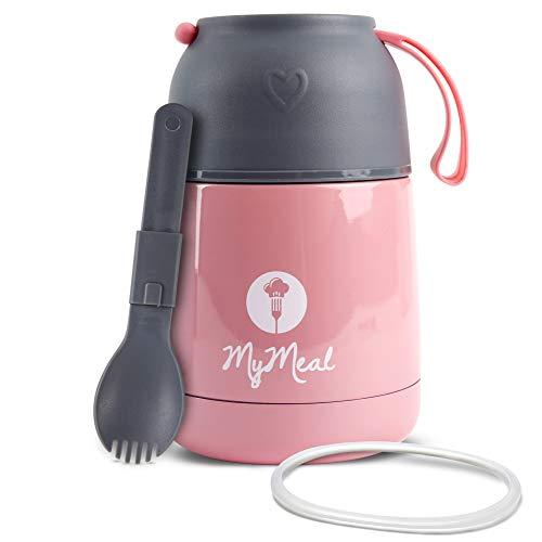 MyMeal Thermobehälter für Essen 450ml, Warmhaltebehälter Essen, Thermo Lunchbox, Thermobecher Essen, Thermobecher Babybrei, Edelstahl mit Löffel & GRATIS Ersatzdichtung, 100% Auslaufsicher (rosa)