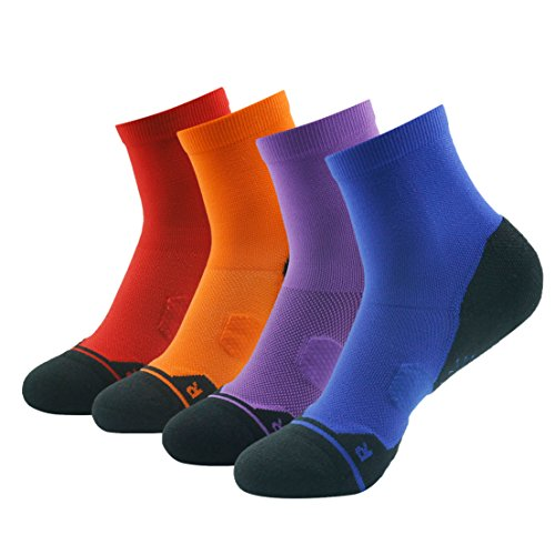 Athletic Short Socks, HUSO Men's Women's Colorful Half-cushion Outdoor Sports Wicking Camping Climbing Walking Socks (4 Pack, Multicolor)