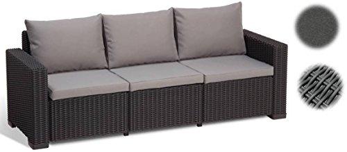 "\""Allibert by Keter\"" Gartenlounge Sofa California 3-Sitzer, graphit/panama cool grey, inkl. Sitz- und Rückenkissen, Kunststoff, runde Rattanoptik"