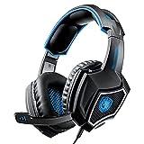 SKK Gaming Kopfhörer Gaming-Headsets PS4-Stereo-Headset verdrahtete PC-Gaming-Kopfhörer mit Noise-Canceling-Mikrofon, über Ohr-Gaming-Kopfhörer für PC/Mac / PS4 / Xbox One Headphone (Color : Blue)