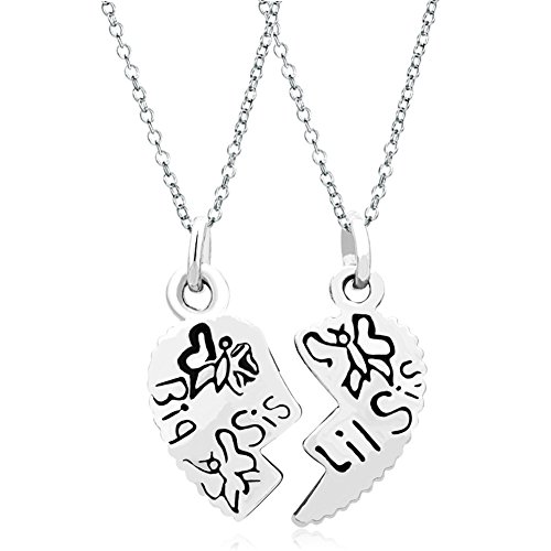 Q&Locket 2 Part Heart Love Mother Daughter Sister Best Friend Filigree Charm Pendant Necklace (Big Sis Lil Sis)