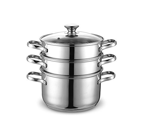 Cook N Home Double Boiler Steamer, 4Qt, silver