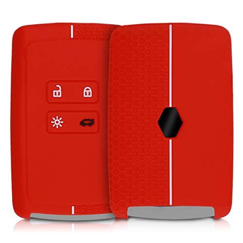 kwmobile Funda de Silicona Compatible con Renault Llave de Coche Smart Key de 4 Botones (Solo Keyless Go) - Carcasa Suave de Silicona - Case Mando de Auto Rojo/Blanco