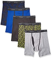 Cool zone mesh fly provides ventilation where you need it Sizes S, M, L, XL are pack of 5 Sizes 2XL and 3XL are pack of 4 Tag free boxer briefs with no ride up legs Wicks moisture Actual colors may vary