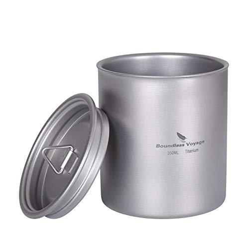 Boundless Voyage 純チタンカップ 350ml ダブルウォールマグ 二重壁コップ 蓋付き 軽量 錆びない お茶 コーヒー マグカップ 持ち運びに便利 メッシュバッグ付き