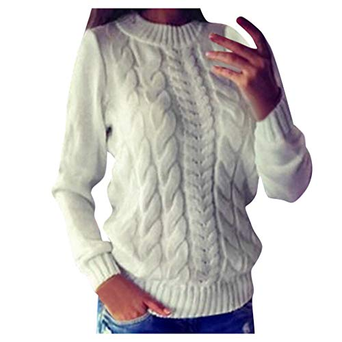 Women's Sweater Crewneck,Pullover Loose Cable Chunky Knitted Knitwear Blouse Casual Winter Warm Jumpers