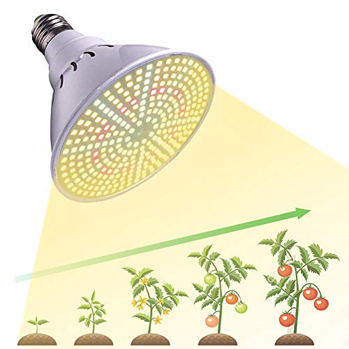 Grow Light Bulb Sunlike Full Spectrum LED Plant Grow Lamp E27 100W Grow Lights for Indoor Plants,Hydroponic Growing Greenhouse Succulents Vegetables Flowers and Seedlings(E27 290LEDs)