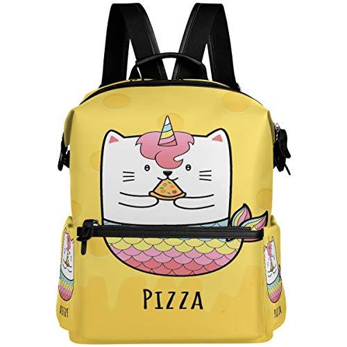 Oarencol - Mochila escolar con diseño de gato de sirena con unicornio