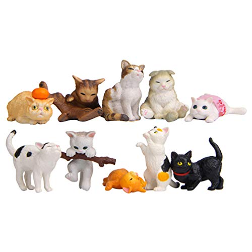 NUOBESTY figuritas de Gato realistas Mini Figuras de Gato