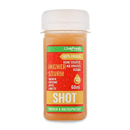 LiveFresh Wellness SHOT - INGWER STURM 60ml | Kaltgepresst aus frischem Apfel, Ingwer, Limette, Cayenne | Keine Zusätze, kein zusätzlicher Zucker | Gekühlt und isoliert geliefert (8)