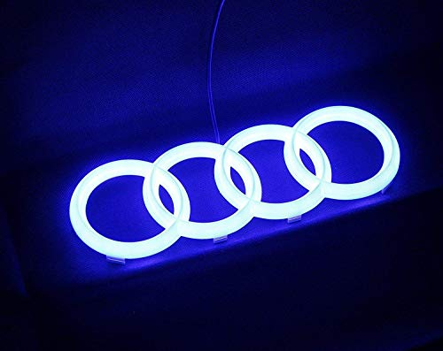Gabriel LED-Emblem, Frontgrill-Abzeichen, beleuchtetes Logo, leuchtende Ringe, Tagfahrlicht, heller (passend für A-udi 27,3 cm, blau)