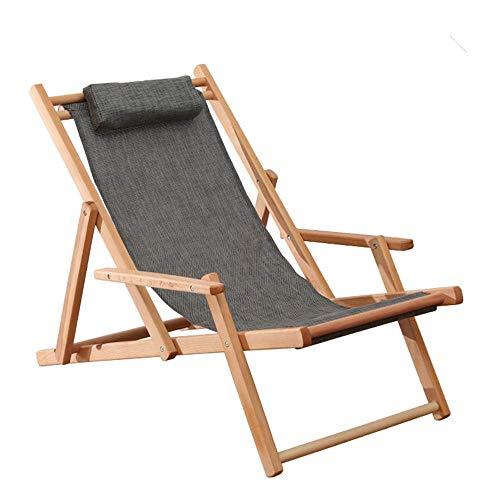 LKK-KK Silla Plegable portátil de Madera Patio Beach Ajustable Estructura de la Silla FOR For Honda de Madera de Haya Natural al Aire Libre Ajustable Sillón