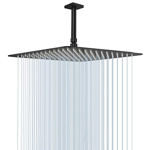 Large Rain Shower Head, NearMoon Luxury Square Stainless Steel Rainfall Showerhead, Waterfall Bath Shower Body Covering, Ceiling or Wall Mount (16 Inch, Oil Rubbed Bronze(Matte Black))