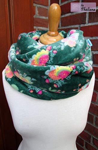 dunkelgrüner Loop mit Blüten Schal petrol bunt Blumen grüner Loopschal