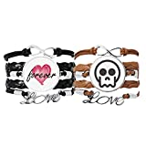 Bestchong Skeleton Online Chat Face Pulsera Correa de mano Cuerda de cuero Forever Love Wristband Set doble
