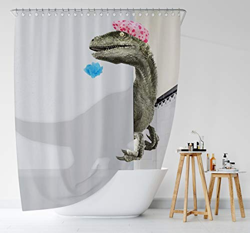 "Bomehsoi White Funny Dinosaur Raptor Shower Curtain for Bathroom Fabric Cloth Waterproof Shower Curtains Shower Stall Curtain with Hooks 72"" W X 72"" L"