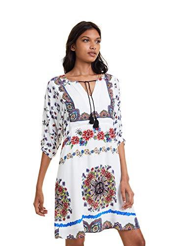 Desigual Dress Linette Vestido, Blanco (Blanco 1000), 44 para Mujer